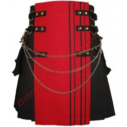 INTERCHANGEABLE BLACK RED CANVAS CARGO UTILITY KILT RACING STRIPES