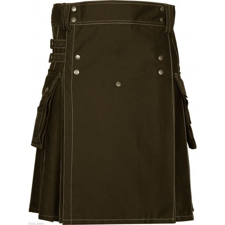 New Men,s handmade Brown Deluxe utility fashion kilt 100% Cotton in new stuff