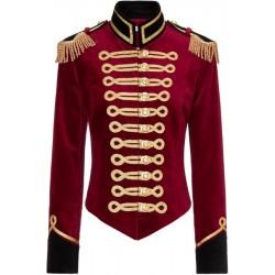 Pinky Laing Red Velvet Military Jacket
