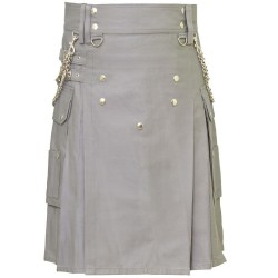 New Men's Handmade Stylish Gray Utility Fashion kilt