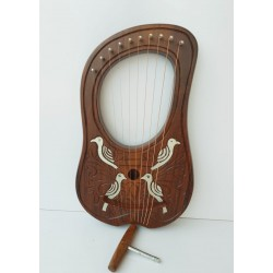 NEW 10 STRING HAND MADE LYRE MADE WITH ROSE WOOD