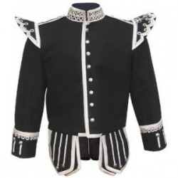 Black Pipe Band Doublet with silver buttons and scrolling silver braid trim