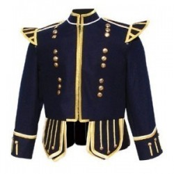 Dark Blue Pipe Band Doublet with gold braid trim and 18 button zip front