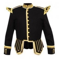 Black Wool Pipe Band Doublet with scrolling gold braid trim