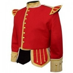 Red / Buff Pipe Band Doublet with buff collar, cuffs, and epaulettes, gold braid trim and gold buttons